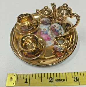 Limoges? Miniature tea set Gold 22k made in Japan, Man/Woman Courting Scene