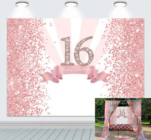 Rose Gold Sweet 16 Backdrop for Girls Sweet Pink 16th Birthday Party Background