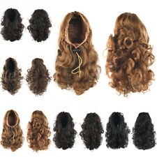 Women Drawstring Curly Wavy Ponytail Wrap Around Hair Extensions Clip in Pigtail