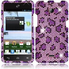 For Huawei H881C ACE Crystal Diamond BLING Hard Case Phone Cover Purple Leopard