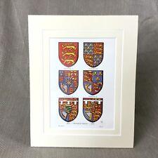 Impression vintage héraldique héraldique Art Royal Family Crest Armoiries vers 1930