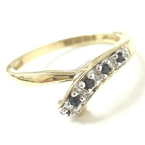 9ct Gold Sapphire Ring Fancy Crossover Yellow HALLMARKED 1.7g Size K
