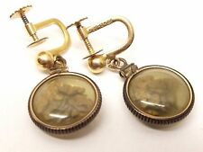 Vtg 22K Gold Placer Nugget Dangle Earrings Alaskan Ore 1/20 12K Gold Filled Set