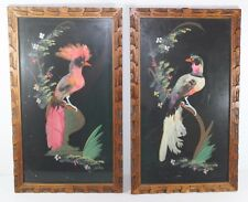 2 Feather Bird Folk Wall Art Pictures Vintage Set of Mexican Carved Wood Frames