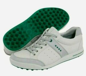 ECCO Street Retro Spikeless Golf Shoes Size 45 White/Green US 11.5 NEW #81815