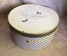 "Vtg Round Hat Box Nan Pendleton Tulsa OK Striped Cardboard Empty Rustic 14"""