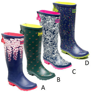 Ladies Wide Fit Memory Foam Rubber Outdoor Wellies Wellington Boots Sizes 3 & 4