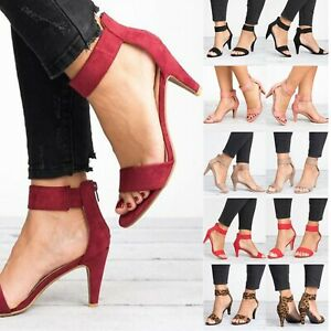 Womens Mid Low Block Heels Sandals Ankle Strap Peep Toe Summer Casual Shoes Size