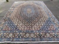 Vintage Hand Made Traditional Oriental Wool Brown Blue Large Carpet 367x262cm