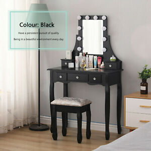 Black Dressing Table Stool Mirror Makeup Jewellery Cabinet Table with LED Light