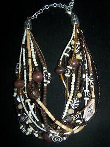 Southwestern Chunky Artisan 12 Strand Tribal African Beaded Necklace