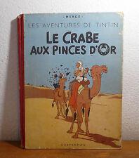 Ancien TINTIN Dos Toilé   Le crabe aux pinces d'or B5 - 1951