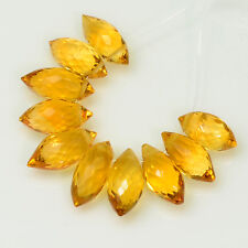 Golden Citrine Faceted Fancy Puff Marquise Briolettes Beads (10)