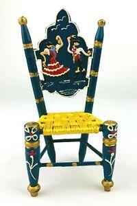 Vintage Spanish Wood Doll Chair Woven Seat Flamenco Dancer Folk Art  *Qa