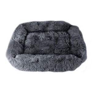 Large Pet Dog Cat Calming Bed Comfy Shag Warm Fluffy Square Mattress Pad