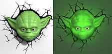STAR WARS ~ YODA ~ Face / Head 3D FX Deco Wall LED Night Light Room Nightlight