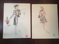 Vtg Pair Antique Mid Century Woman 40's 50's Portrait Drawing Painting- Signed
