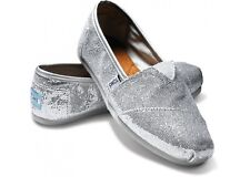 Authentic TOMS Classic Silver Women's Glitters Size 5.5