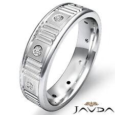 Diamond Eternity Wedding Band Mens Matt Polish Finish Ring 14k White Gold 0.13Ct