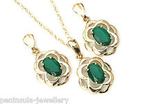 9ct Gold Celtic Green Agate Pendant and Earring Set Gift Boxed Made in UK