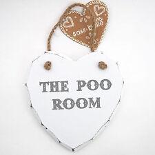 WOODEN HEART |  'The Poo Room' | Wall Plaque Hanging Toilet Door Sign BNWT
