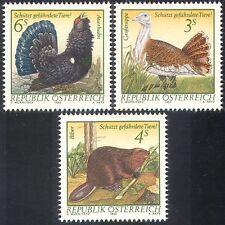 Austria 1982 Urogallo/avutarda/Castor/Aves/animales/naturaleza 3v Set (n23131)