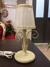 LUMETTO LAMPADA DA COMODINO ABAT JOUR E14 arte povera con paralumi plisse