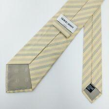 Giorgio Armani Silk Tie Beige Striped Check Designer Italy Wedding New RRP£109