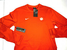 NWT SMALL MEN Nike STITCHED Therma Clemson Tigers Pullover SWEATER FLEECE ORANGE