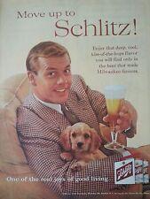 1960 Schlitz Beer Milwaukee Brewing Man in Brown Suit Golden Retriever Dog Puppy