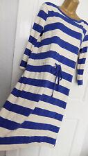 MERONA ● size S 10 ● blue white striped casual cotton dress womens ladies