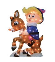 """32"""" LED Lighted Hermey The Dentist Riding Rudolph The Red Nosed Reindeer"""