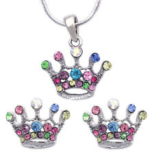 Princess Crown Colorful Tiara Pendant Necklace Stud Earrings Jewelry Set s2037s