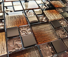 NEW BRONZE COPPER GLASS IRIDESCENT FOIL & METAL SQUARE MOSAIC WALL TILES 8MM