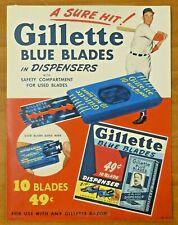 "Vintage 1940's-50's Gillette Baseball Stand Up Ad 8.5"" x 11"""