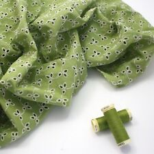 Coloured Cotton Broderie Anglaise - Lime Green 5 - Dressmaking Fabric Fashion Se