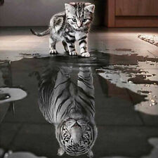 Diamond Painting Kit Like Cross Stitch 40x40cm Cat Reflection Tiger Animal D1036