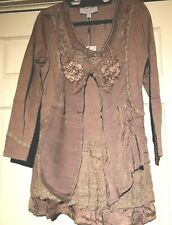 Pretty Angel tunic dress lace accent ruffle at hem S &  L color Brown