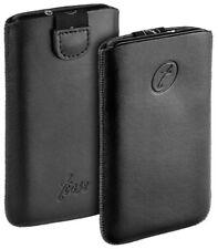T-case estuche de cuero bolso negro f HTC Wildfire S