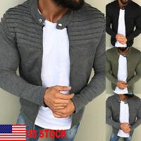 Trendy Men Winter Slim Casual Warm Zipper Sweatshirt Coat Jacket Outwear Sweater