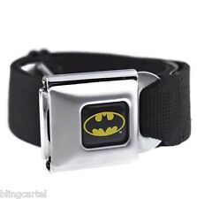 Batman Seatbelt Belt DC Comics Black & Yellow Bat Man Seat Belt Mens Buckle Down