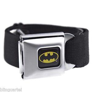 Batman Seatbelt Belt DC Comics Black & Yellow Bat Man Seat Belt Mens Buckle Down