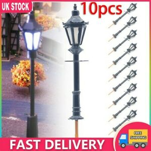 10Pcs Model Street Lights Scale 1:75 Railway 3V LED Lamppost Patio Lamps
