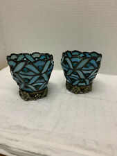 PartyLite Spring Water Blue Votive Stained Glass Candle Holder Qty: 2