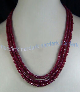 """AAA 3 STRANDS 2x4MM NATURAL RED RUBY FACETED GEMS RONDELLE BEADS NECKLACE 17-19"""""""