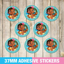 Moana Birthday Party Stickers, Thank you, Sweet cone Labels x 35