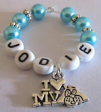 PERSONALISED DOG LOVERS WINE GLASS RINGS ALL COLOURS PEARLS & SILVER CHARM