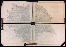 Yorkshire. Complete 4 sheet map. Original 1863 Dispatch Atlas Map. E. Weller. VG
