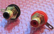 Una coppia di alta qualità placcati in oro Phono (RCA) Socket CHASSIS + RONDELLE IN TEFLON