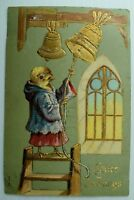 C.1910 Anthropomorphic Chicken, Easter, Ringing Bells Postcard P76